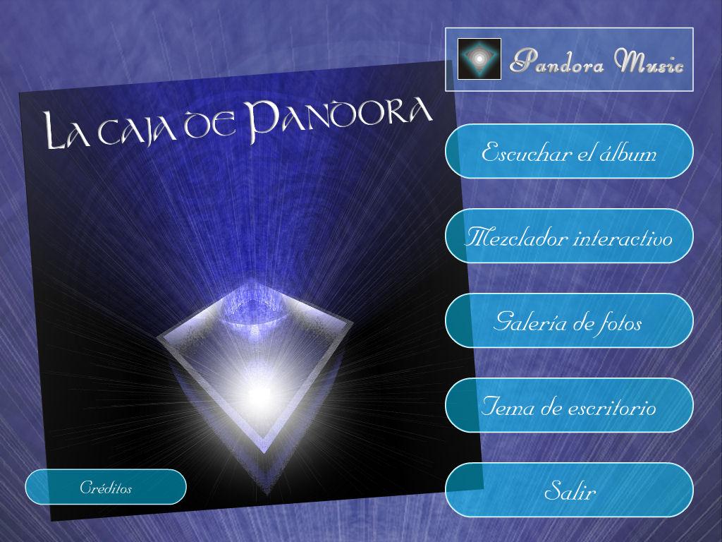 """Menu de las opciones del CD """"La caja de Pandora de David Bazo"""""""