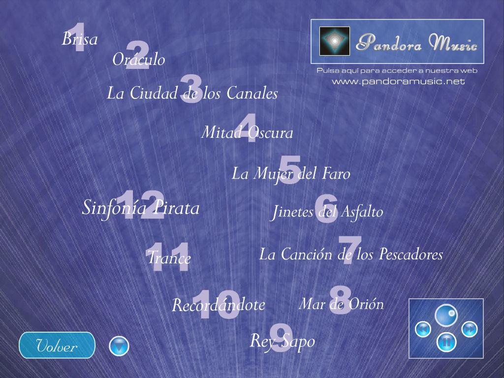 """Reproductor de temas en segundo plano del CD Menu de las opciones del CD """"La caja de Pandora de David Bazo"""""""